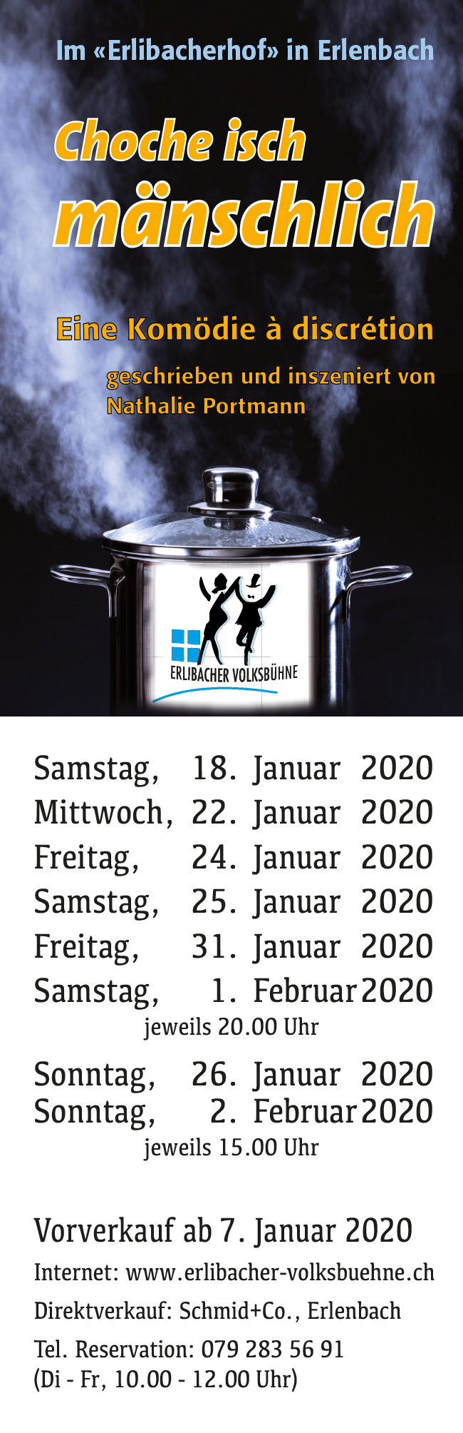 Vorankündigung Theater-Aufführung 2020